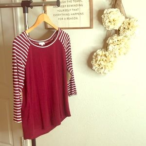 3/4 sleeve knit striped top Size L